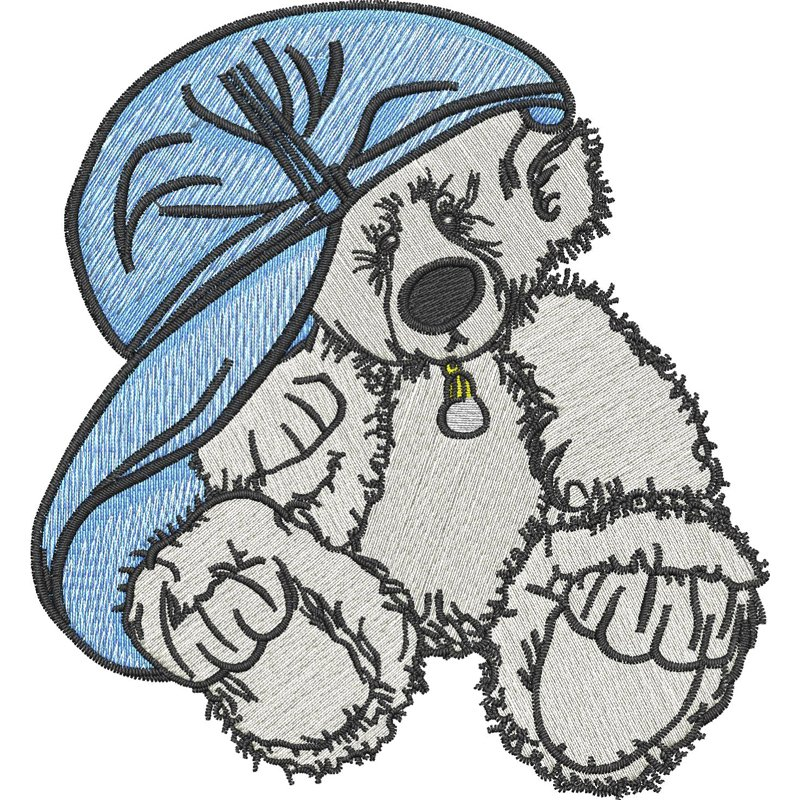 ChrisW Designs Bear With Hat Machine Embroidery